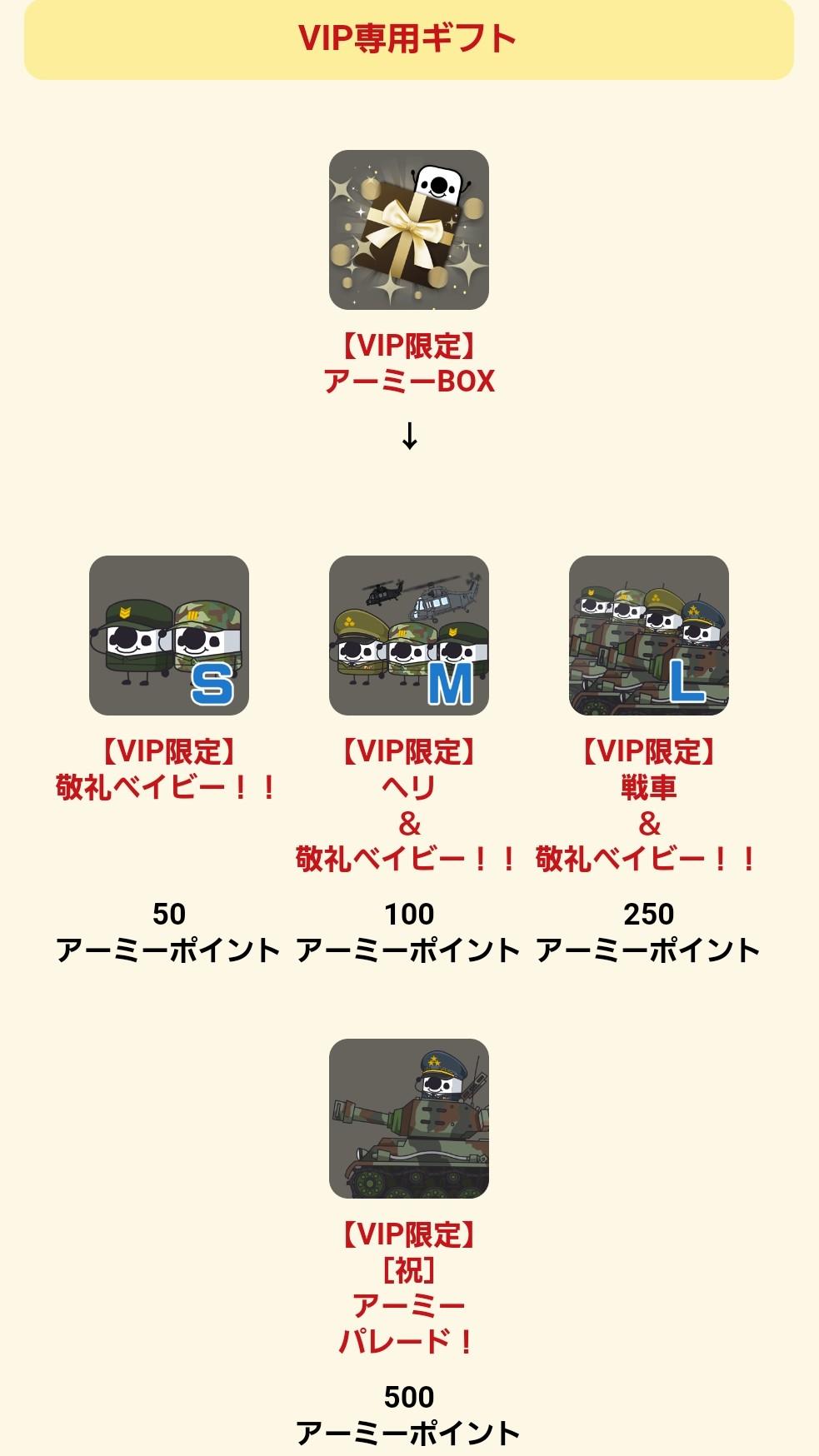 アーミーNo.1決定戦_VIP専用ギフト